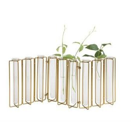 GOLD METAL AND GLASS JOINTED VASE, 9 TEST TUBES
