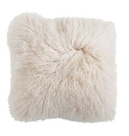 "20"" SQ MONGOLIAN LAMB FUR PILLOW, CREAM"