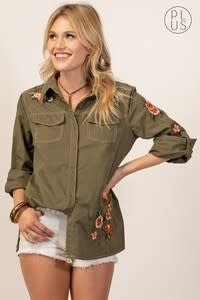 CANDACE BUTTON DOWN TOP W/ EMBROIDERY