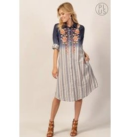 AYESHA BUTTON DOWN STRIPE DRESS W/ EMBROIDERY