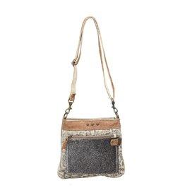 Myra HIDE & FLORAL PRINT SMALL CROSS BODY BAG