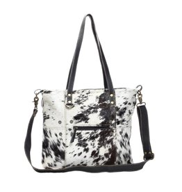 Myra BLACK AND WHITE SHADE HAIRON TOTE BAG