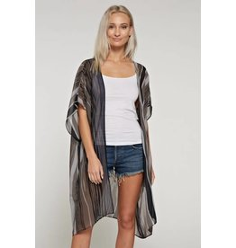 WHITE BIRCH STRIPED KIMONO W/ DOLMAN SLEEVES