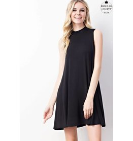SLEEVELESS MOCK NECK SWING DRESS W/ POCKET