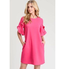 TULIP CONSTRUCTION DRESS W/ RUFFLE SLEEVE