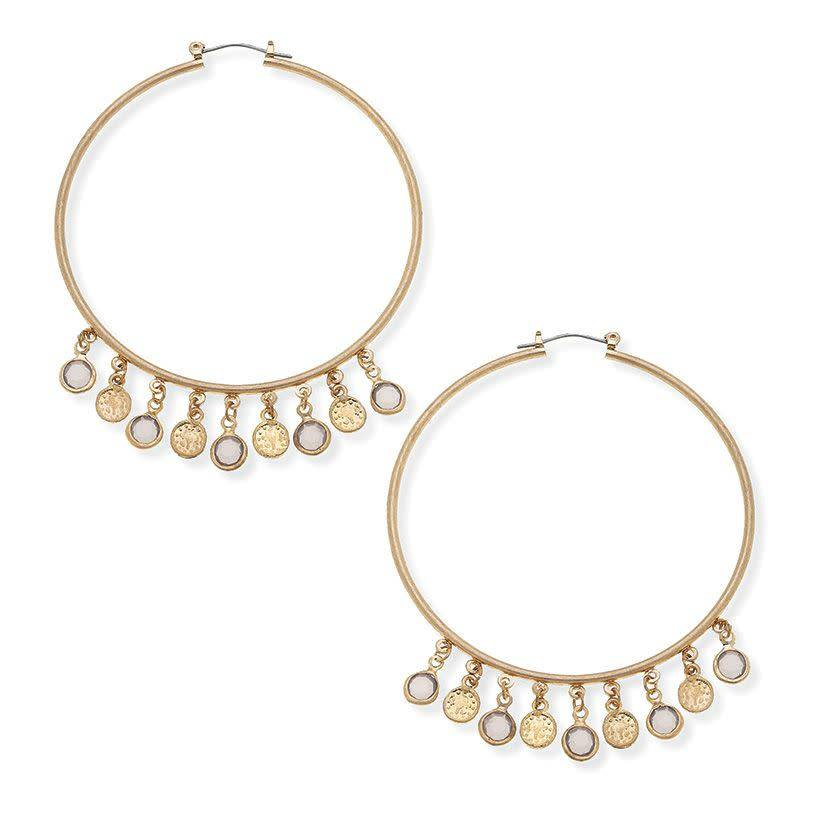 CANVAS CAMILLE WIRE HOOPE EARRINGS GREY GLASS