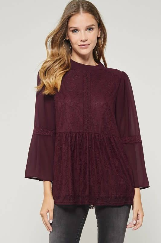 BABYDOLL LACE TOP W/ BELL SLEEVES