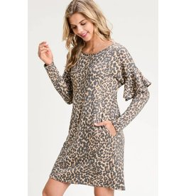 LEOPARD DRESS W/ LONG RUFFLED SLEEVES