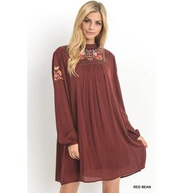 MOCK NECK EMBROIDERED YOKE DRESS