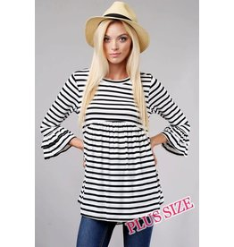 PLUS STRIPED BABY DOLL TOP