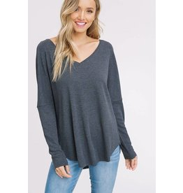 VNECK RIBBED KNITTED TOP
