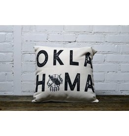OKLAHOMA SHIELD BLACK OKLAHOMA TEXT PILLOW
