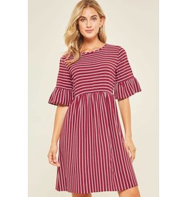 FLAMINGO STRIPED DRESS W/ RUFFLE SLEEVE