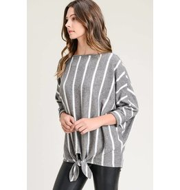 STRIPED BRUSHED HACCI TOP W/ BOAT NECK