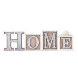 WOOD HOME BRICKS W/ TIN LETTERS & VOTIVE