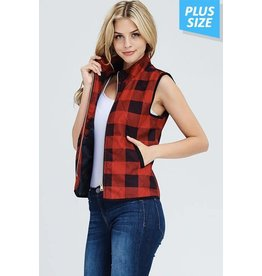 PLAID ZIP UP VEST