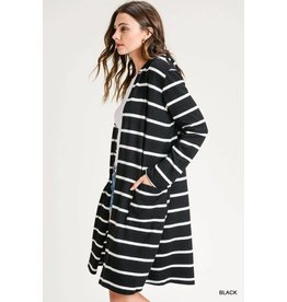 STRIPED LONG HOODED CARDIGAN
