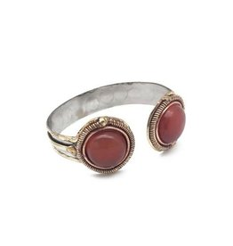 ANJU JANYA COLLECTION DUAL STONE ARROW OPEN CUFF RED ONYX