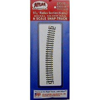 """Atlas N 9 1/4"""" Radius Curved Tracks # 2510"""