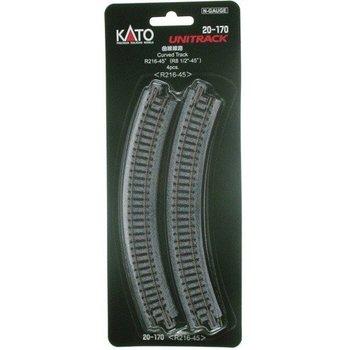 Kato N Curved Track (8 9/16) Radius 45 (4) # 20-170