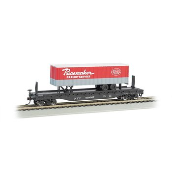 """Bachmann HO 52' 6"""" Flat w/ 35' Trailer, NYC/Pacemaker # 16708"""
