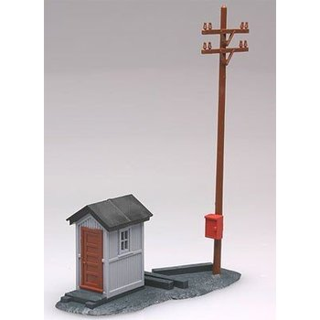 ATLAS HO Telephone Shanty & Pole -- 1-3/8 x 3-1/16 # 705