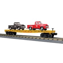 MTH O Flat Car w/(2) '53 Ford Pickup Trucks - Union Pacific (Red Pickup Trucks) # 30-76670