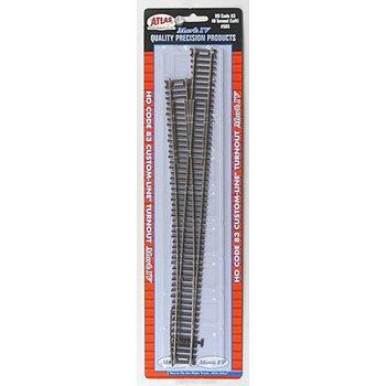 Atlas Code 83 Custom-Line Mark IV Turnout w/Nickel-Silver Rail & Brown Ties -- #8 Left Hand # 565