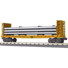 MTH 027 Maine Central Flat Car - w/Bulkheads & Pipe Load 30-76693