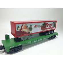 MTH O-27 Santa Christmass Flatcar with Trailer # 30-76687
