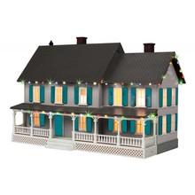 MTH O Gray Country House & Operating Christmas Lights # 30-90545