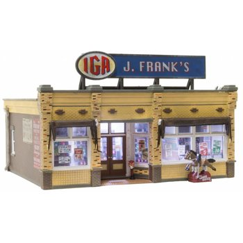 Woodland Scenices HO J. Frank's Grocery - Built & Ready Landmark Structures(R) -- Assembled # 5050
