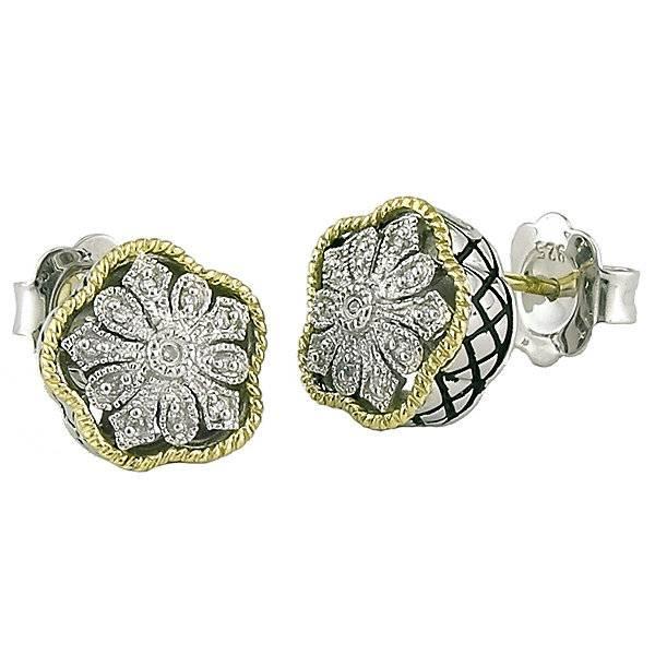 Andrea Candela Flower Diamond Stud Earrings