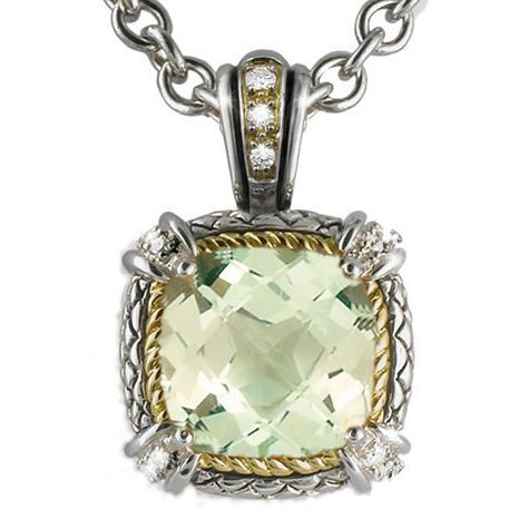 Andrea Candela Andrea Candela Green Amethyst and Diamond Necklace