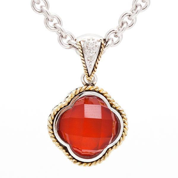 red agate and diamond clover necklace freedman jewelers