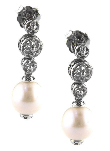 Andrea Candela ACE304P  Pearl filigree drop earrings