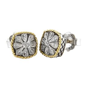 ACE92 cushion diamond flower earrings