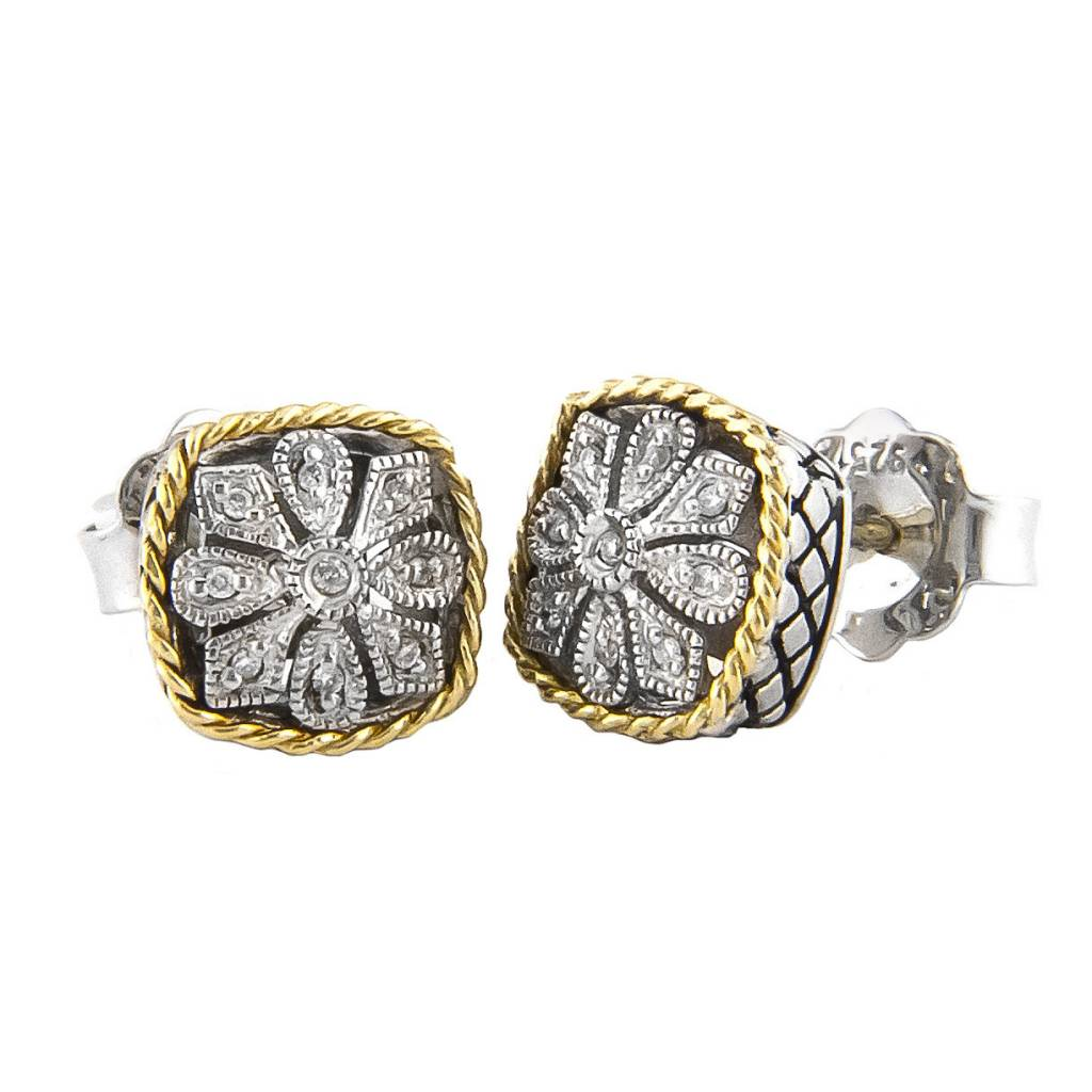 Andrea Candela ACE92 cushion diamond flower earrings