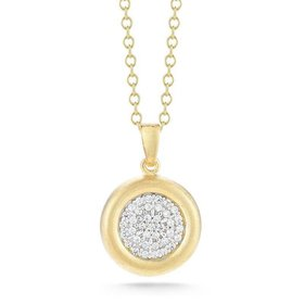 IR3467Y gold pave diamond circle necklace