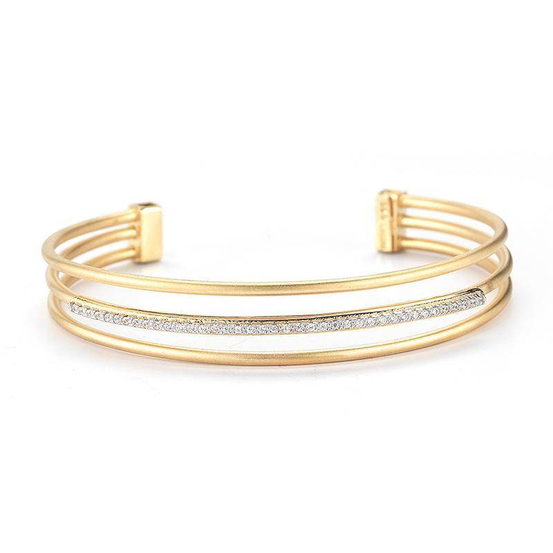 I. Reiss BIR356Y 14kt yellow gold multi row diamond bracelet