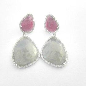 Sabrina 0913 Sliced green /red sapp dia earrings