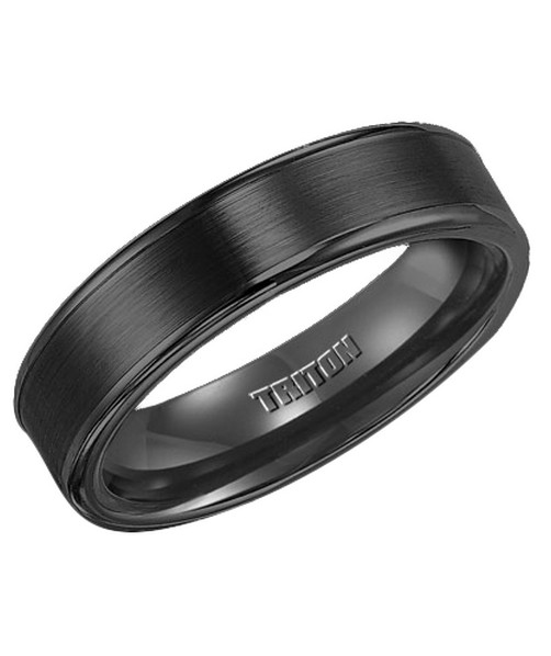 Triton 11-2117 black tungsten brushed wedding ring