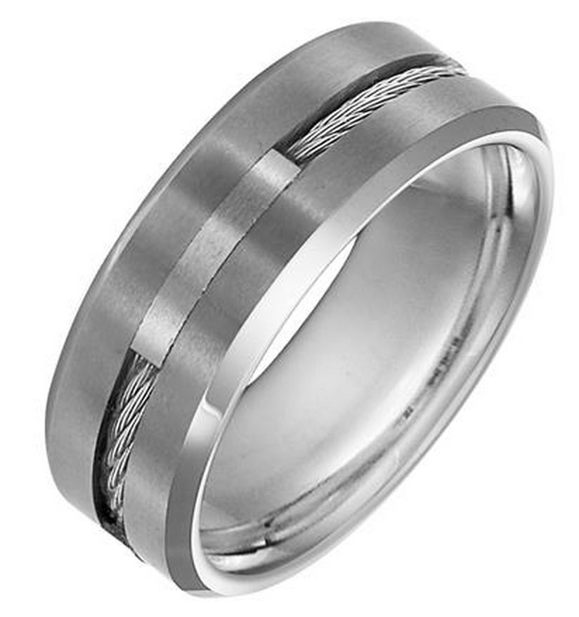 comfort ring image wedding fit products polished edge silver blue rings with unisex band finish tungsten mens beveled line and carbide