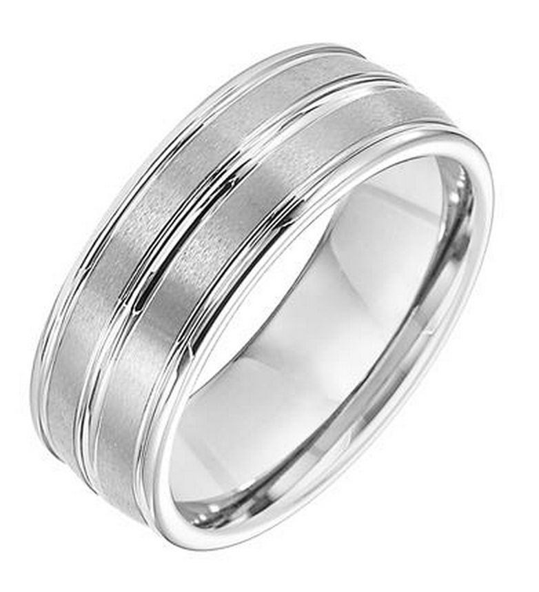 Triton 11-2890 white tungsten wedding band