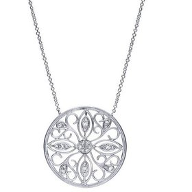 NK3878 silver and diamond pendant