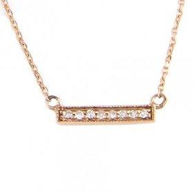 14kt Rose Gold Mini Diamond Bar Necklace