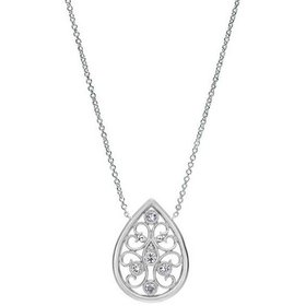 NK4075  Silver and Diamond Tear Drop Necklace