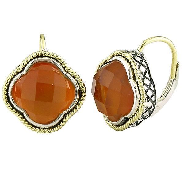 Andrea Candela ACE126 Red Agate Clover Earrings
