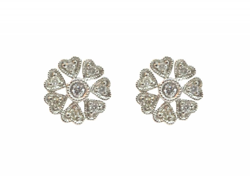 Diamond Heart Petal Earrings
