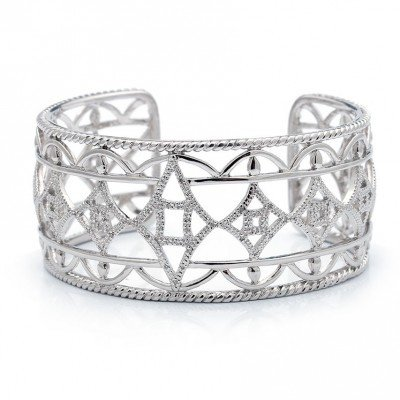 Lau B0365 Silver and Diamond Cuff Bracelet